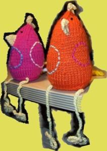 pinkes und organges Huhn in voller Größe